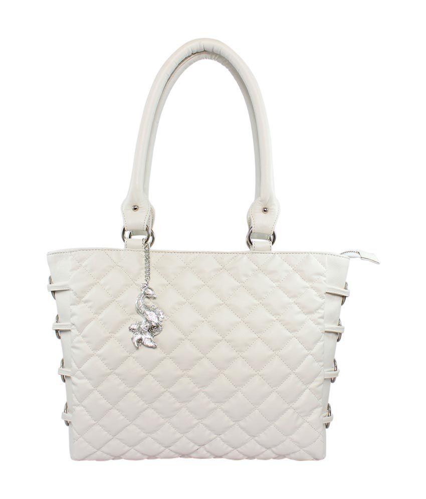 Abhay Enterprises Pvt Ltd White Faux Leather Shoulder Bag