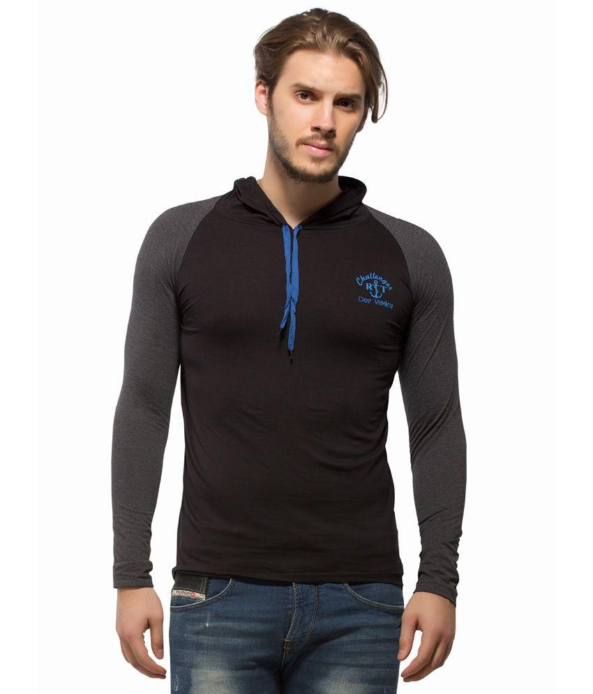 Alan Jones Solid Hooded Black Cotton T-Shirt