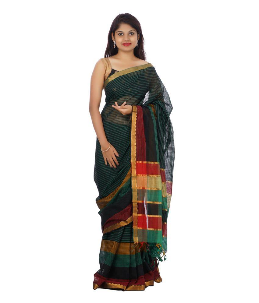 Devi Handlooms Green Cotton Saree