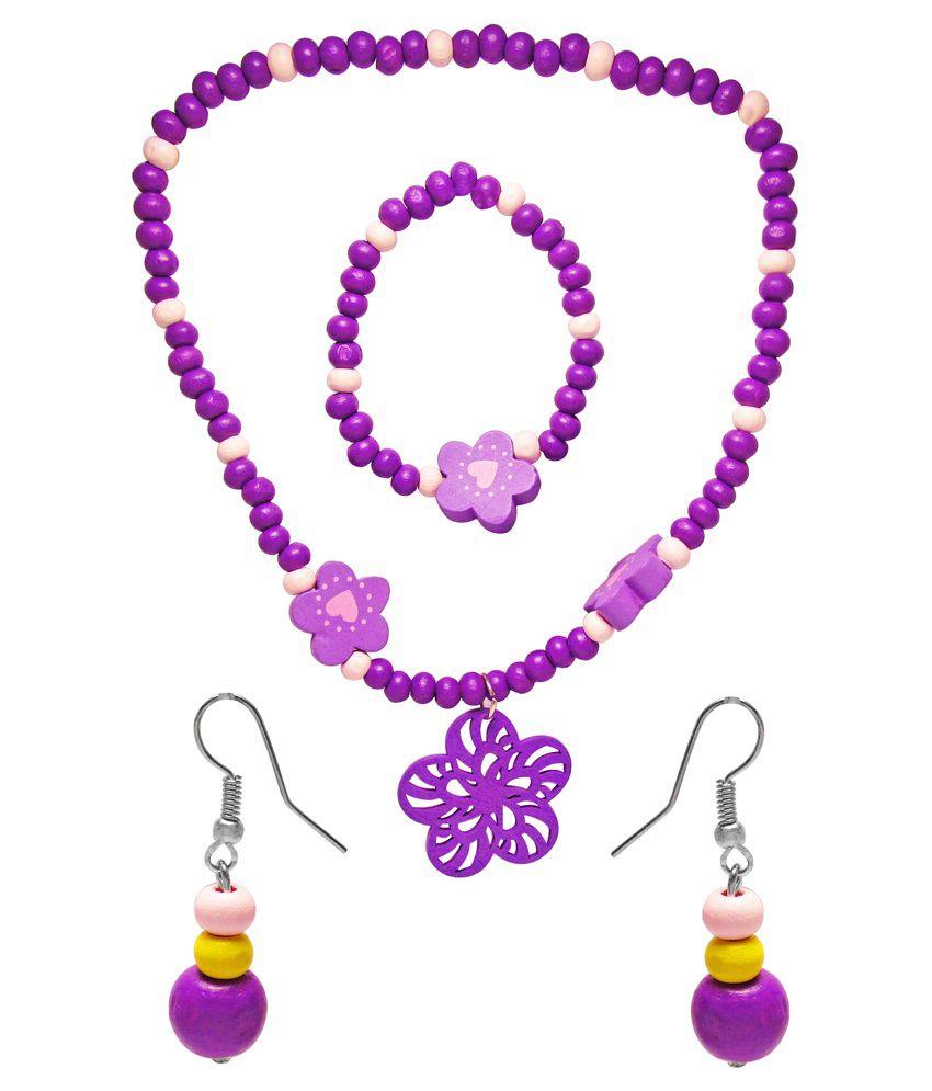 Jewelz Purple Antique Necklace Set