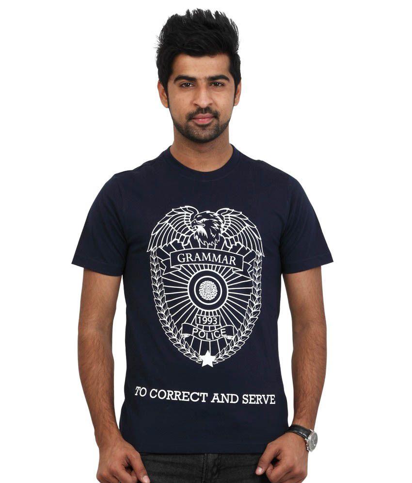 Police Blue Cotton Round Neck T-shirt