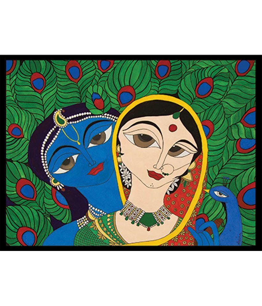 Retcomm Art Painting Of Radha Krishna In Maithi Style Painting Format