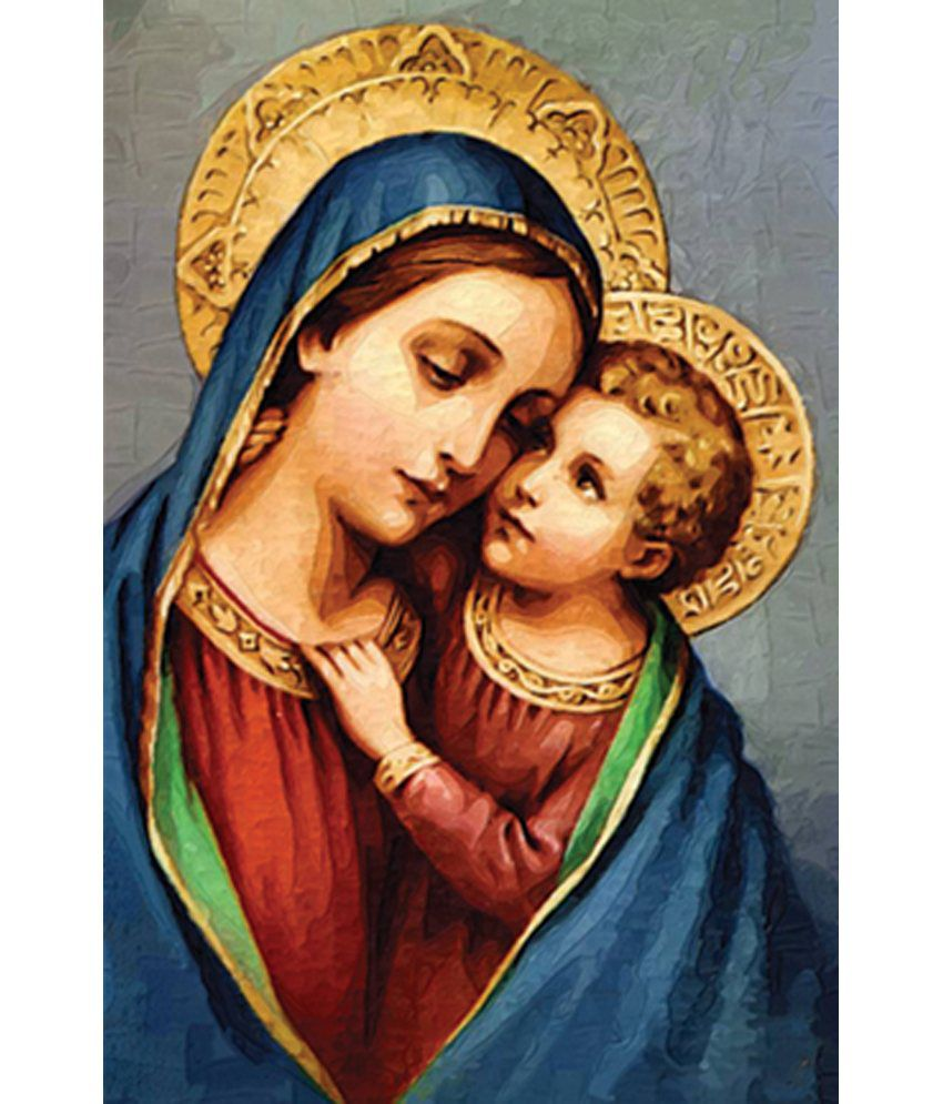 Retcomm Art Painting Of Young Jesus Christ With Mother Mary On Bright Blue Back Ground
