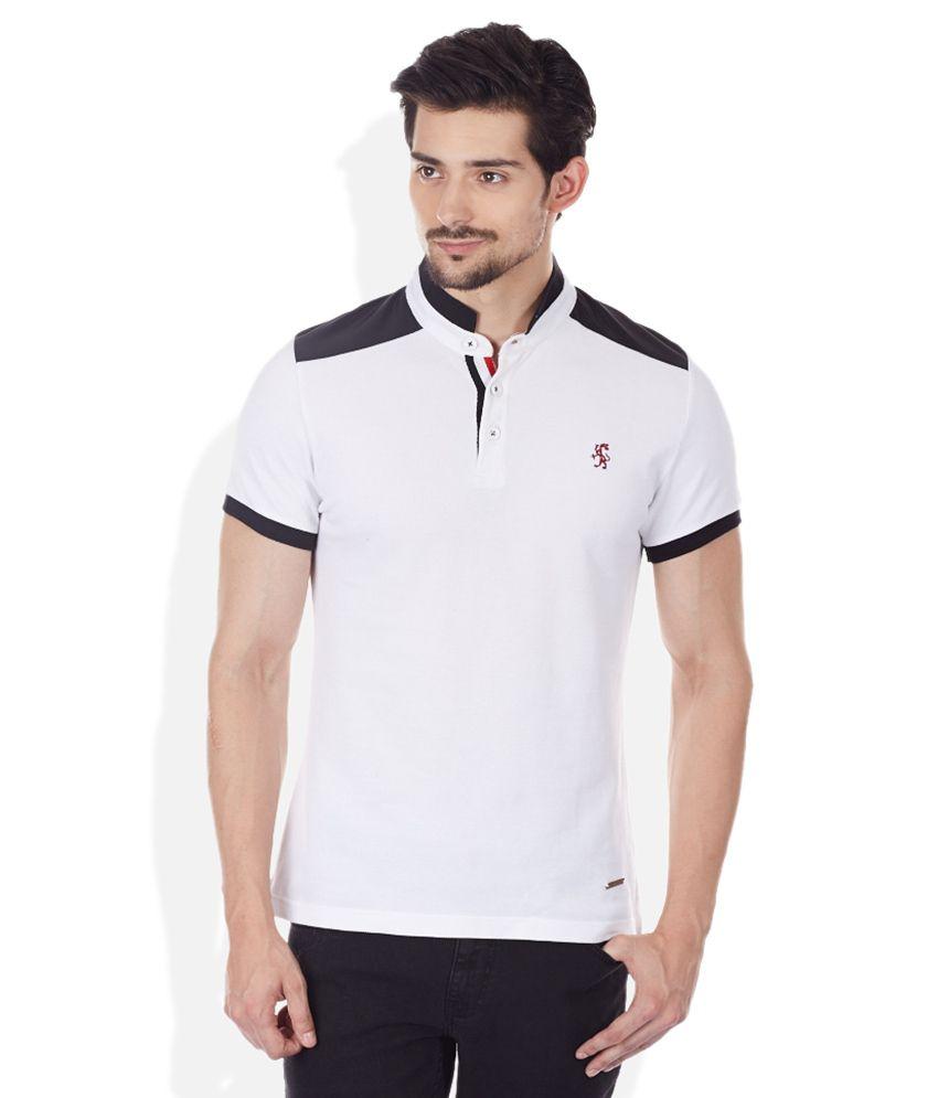 Sisley White Solid High Neck T-Shirt