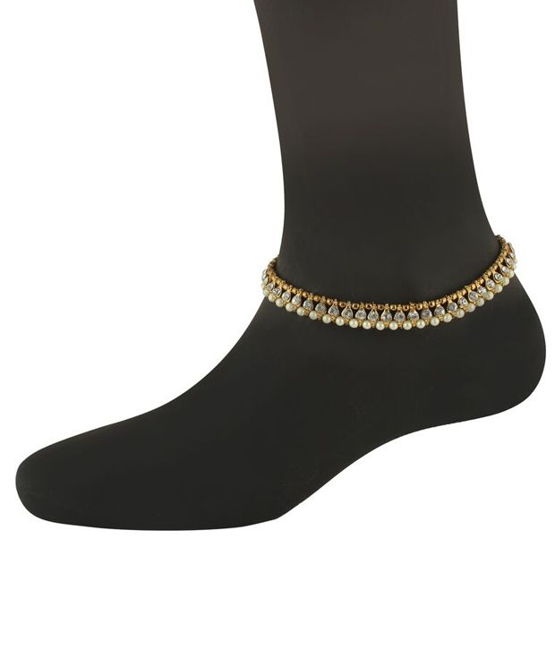 Riana Traditional Pearl and Diamond Pair of Anklets (Gold)