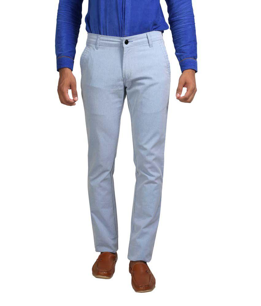 Apris Blue Cotton Casual Trouser For Men