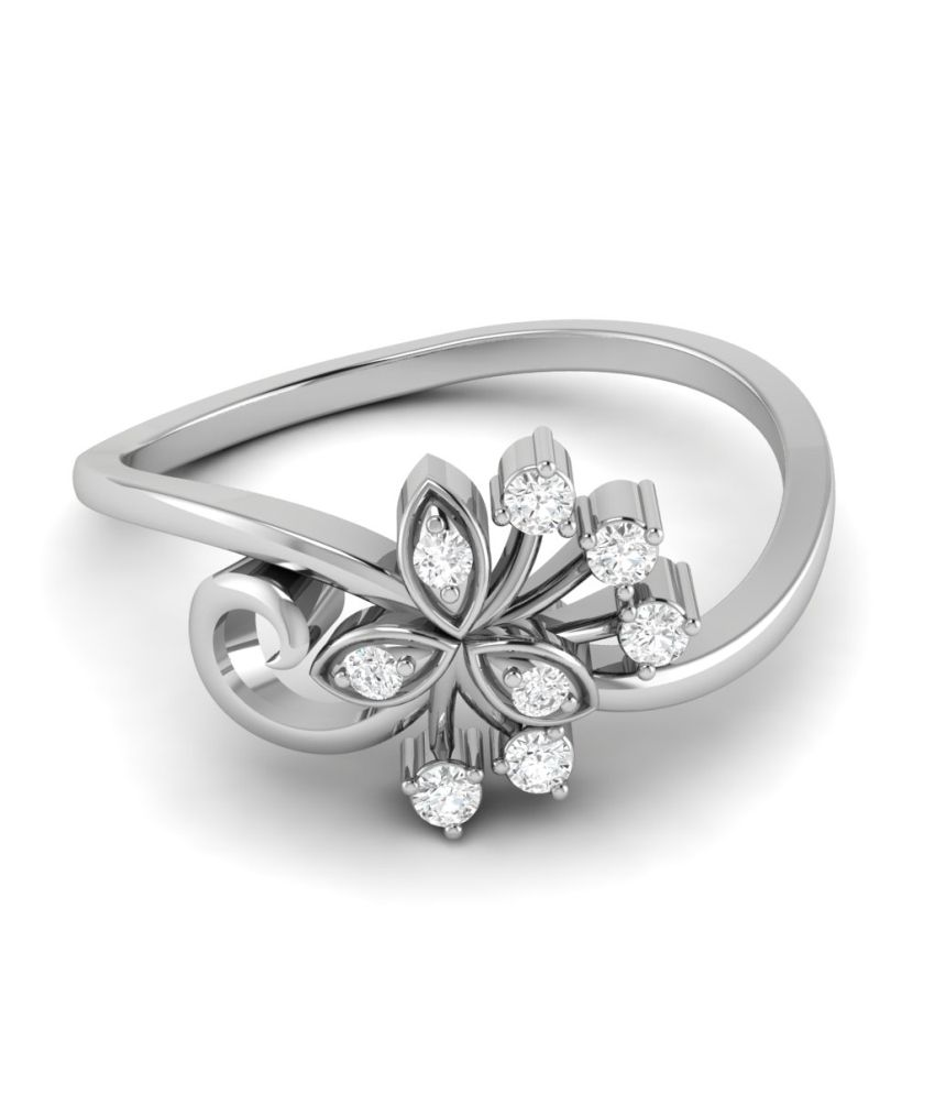 Ciemme 0.10 Ct Floral Prong Set 10 Kt White Gold Real Diamond Ring For Women