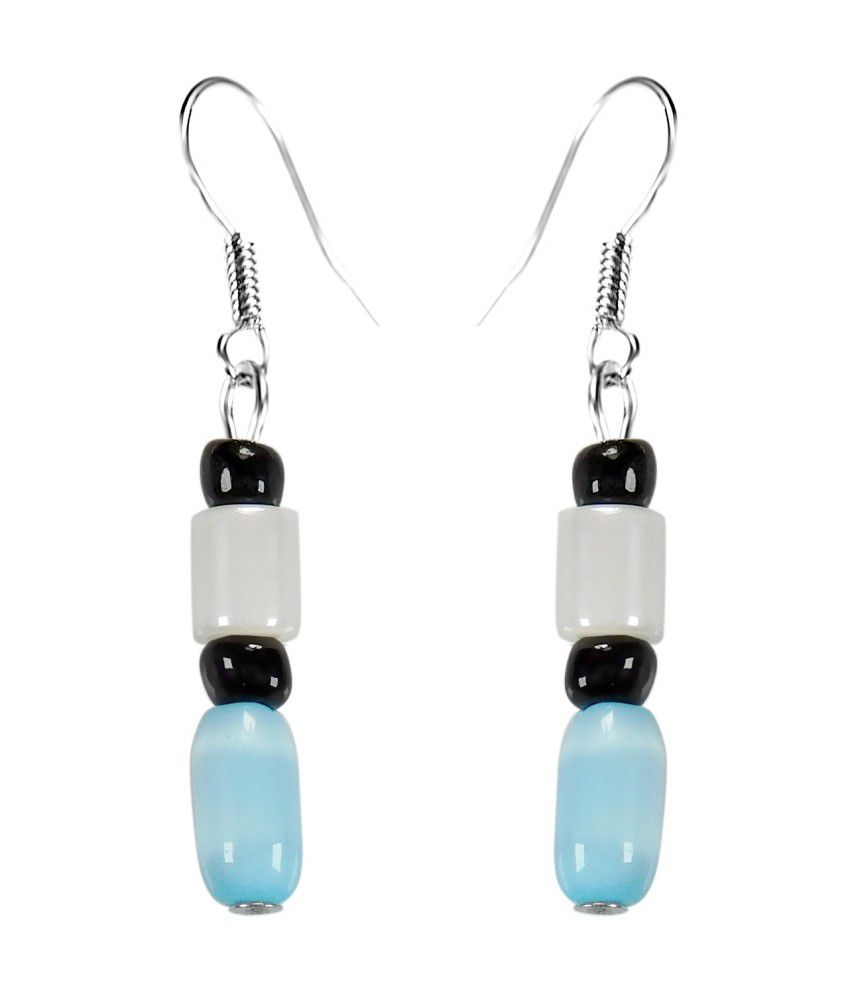 Crystals & Beads Turquoise Blue Colour Barrel Cats Eye & Opal White Colour Bead & Onyx Black Colour Moonball  Earring