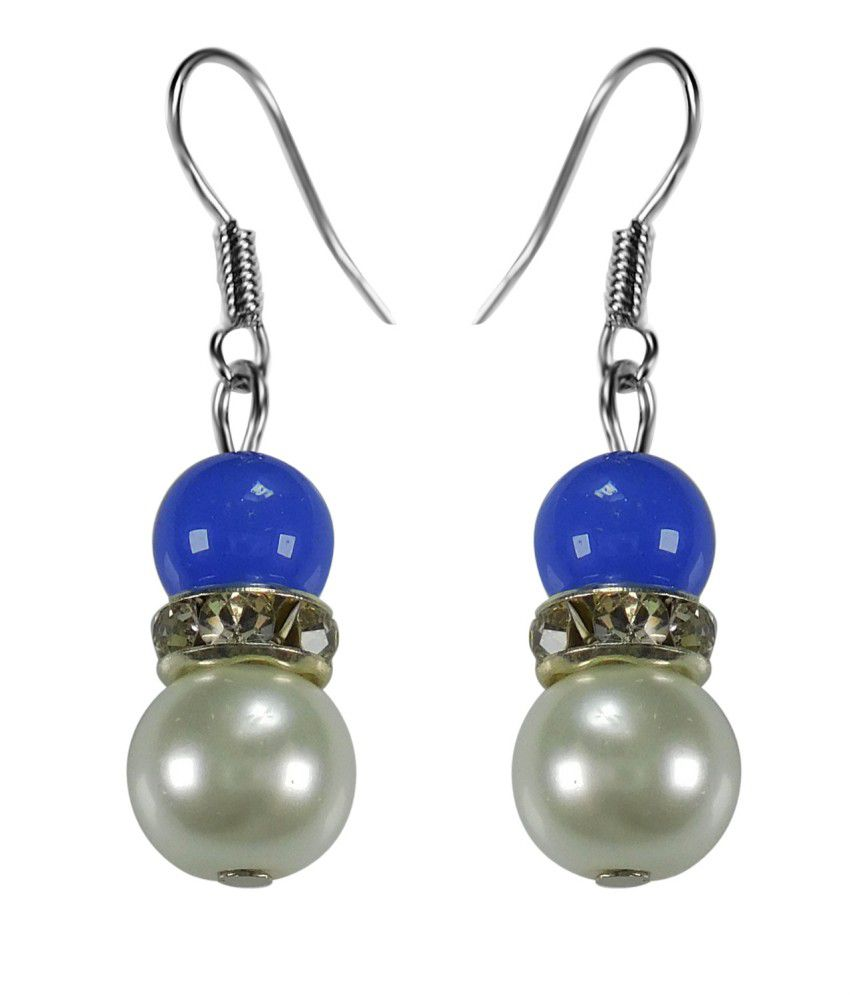 Crystals & Beads Sapphire  Blue Colour Round Moonball & White Colour Pearl With Diamond Spacer Earring