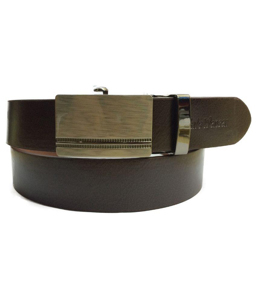 Kp Belts Brown Leather Belt Auto-lock Buckle