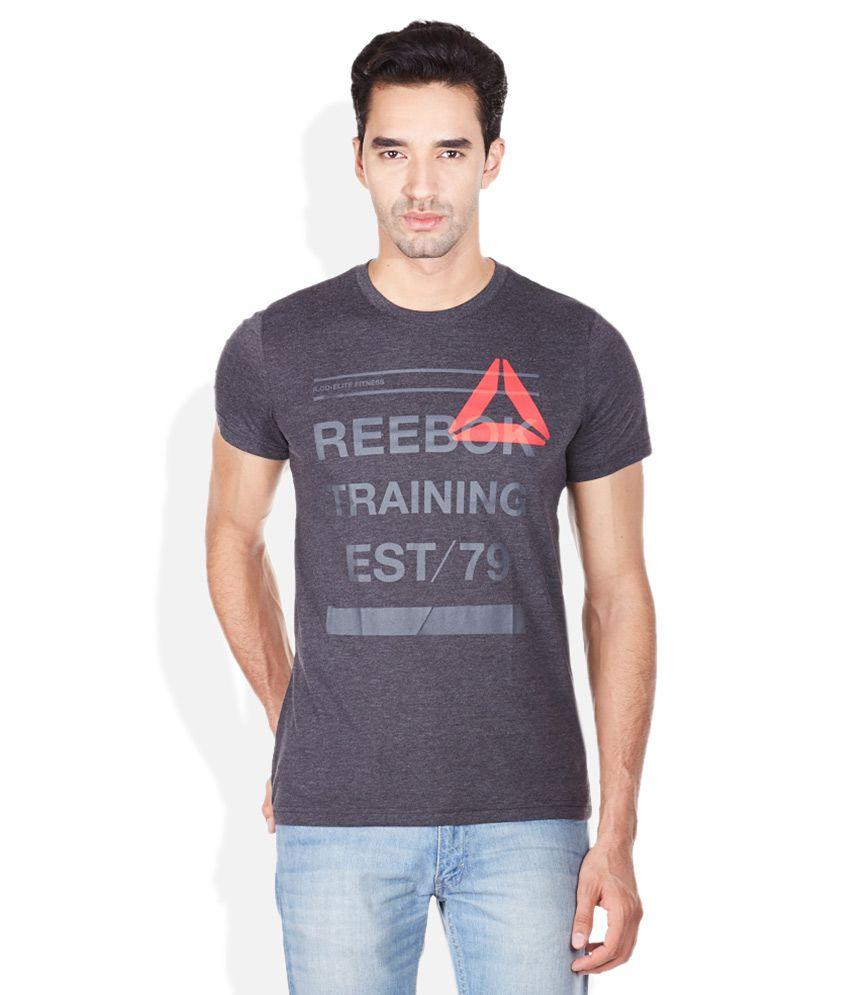 Reebok Gray Printed Round Neck T-Shirt