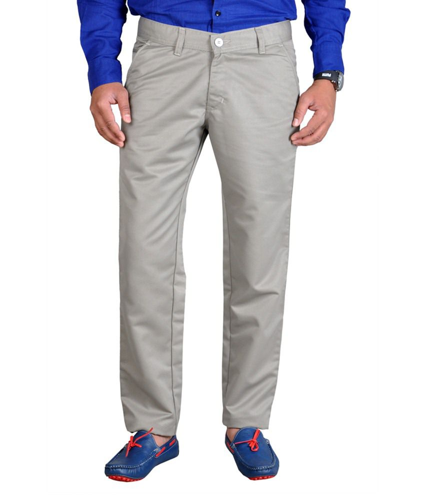 Routeen Gray Cotton Blend Trousers