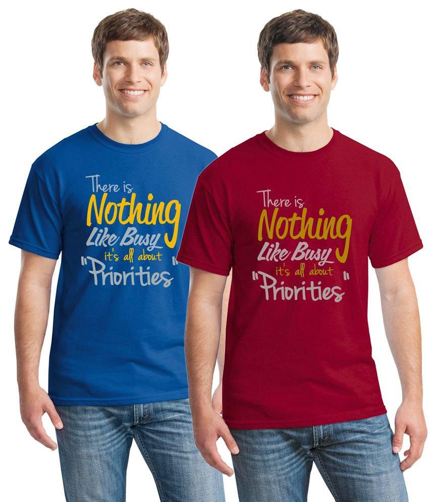 Inkvink Clothing Lavish Pack of 2 Blue & Red Half Sleeve T Shirts for Men