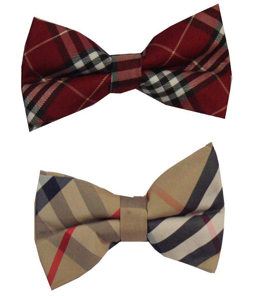 Leonardi Artistic Pack of 2 Red & Beige Casual Bow Ties for Men