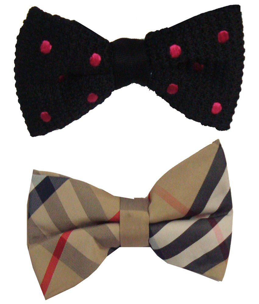 Leonardi Brilliant Pack of 2 Pink & Beige Casual Bow Ties for Men
