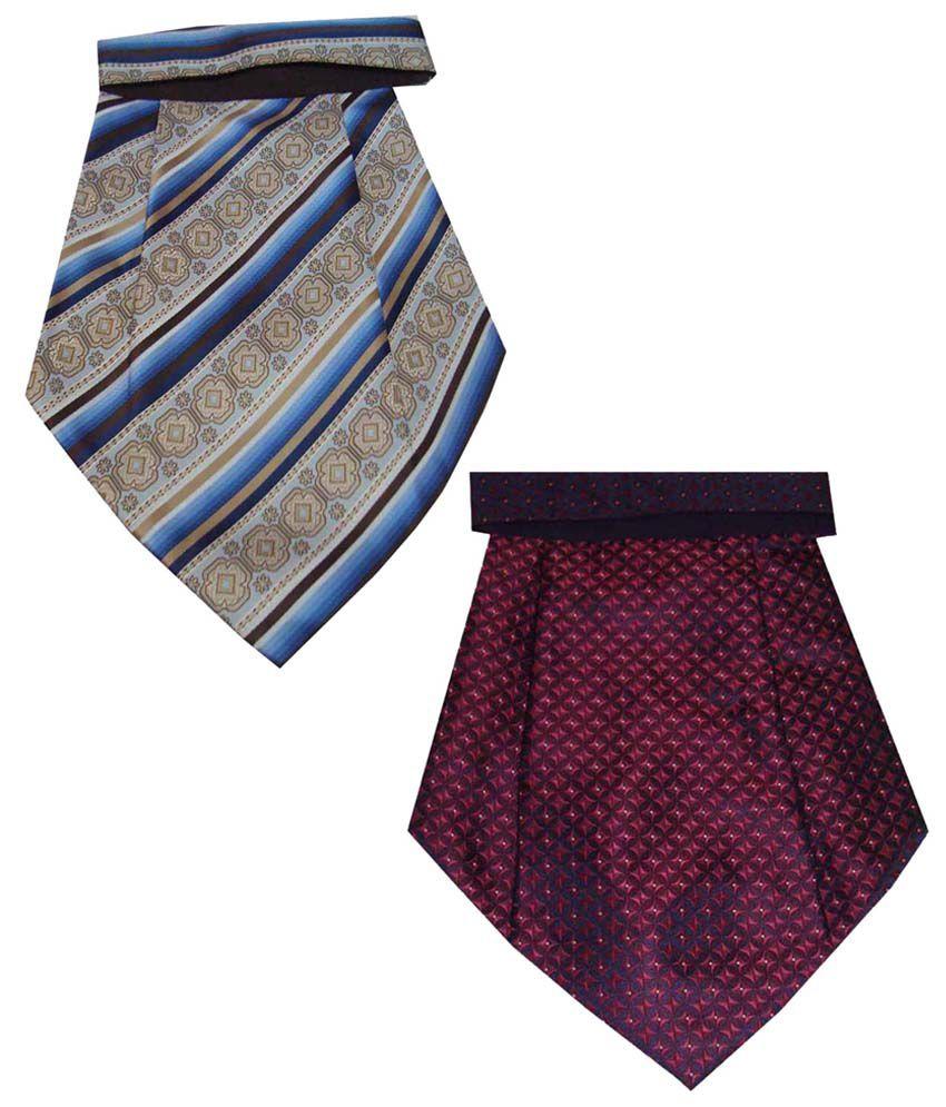 Leonardi Classy Look Pack of 2 Purple & Blue Cravats for Men