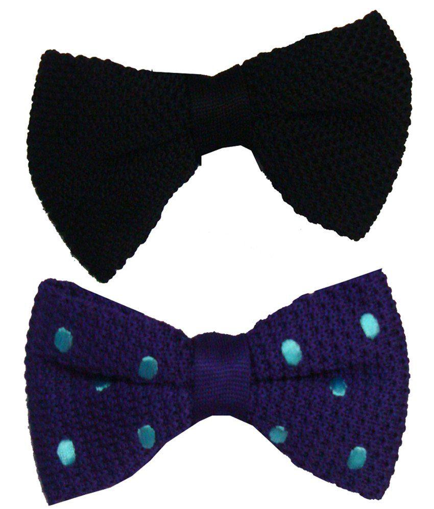 Leonardi Exquisite Pack of 2 Black & Purple Plain Casual Bow Ties for Men