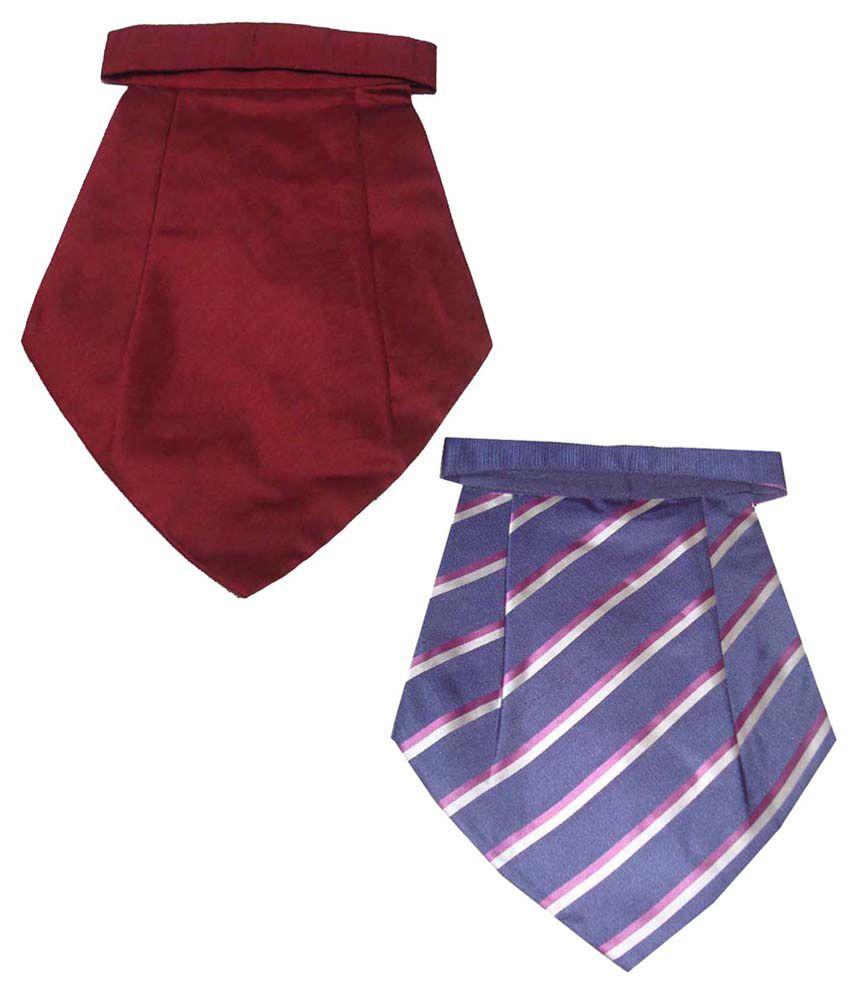 Leonardi Fabulous Pack of 2 Blue & Maroon Cravats for Men