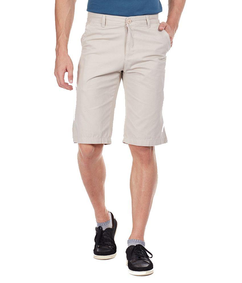 ARUNA Beige Cotton Solids Shorts