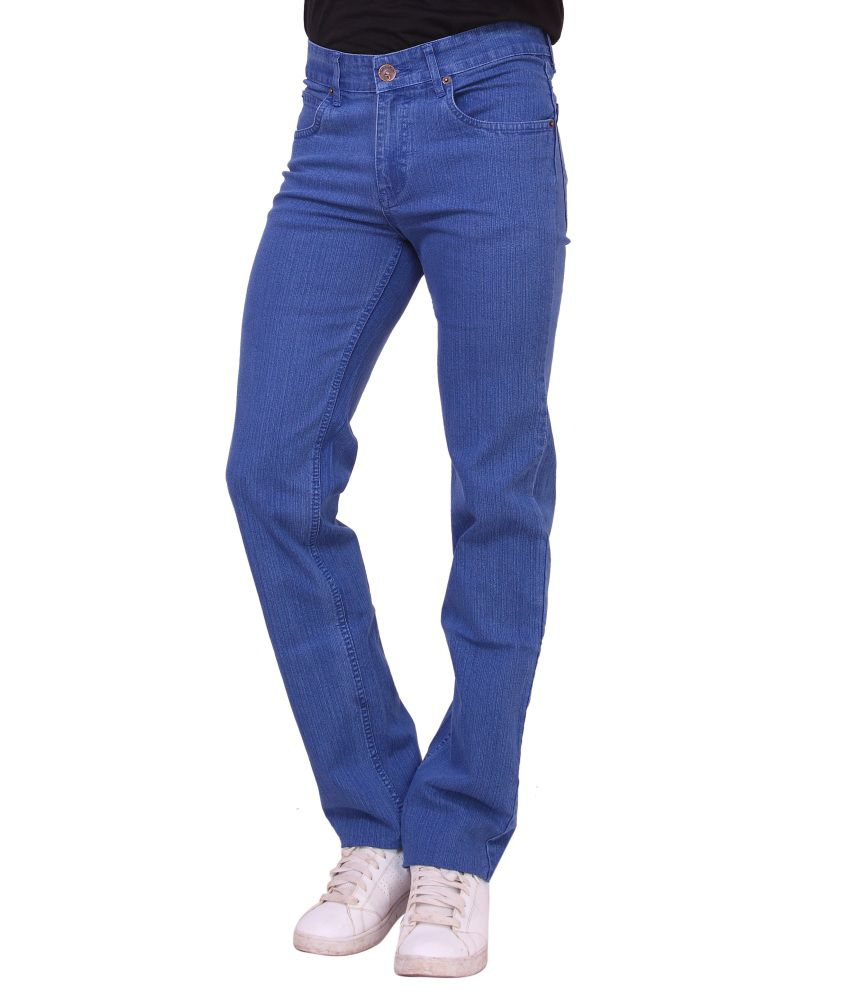 Dad Blue Cotton Blend Jeans For Men