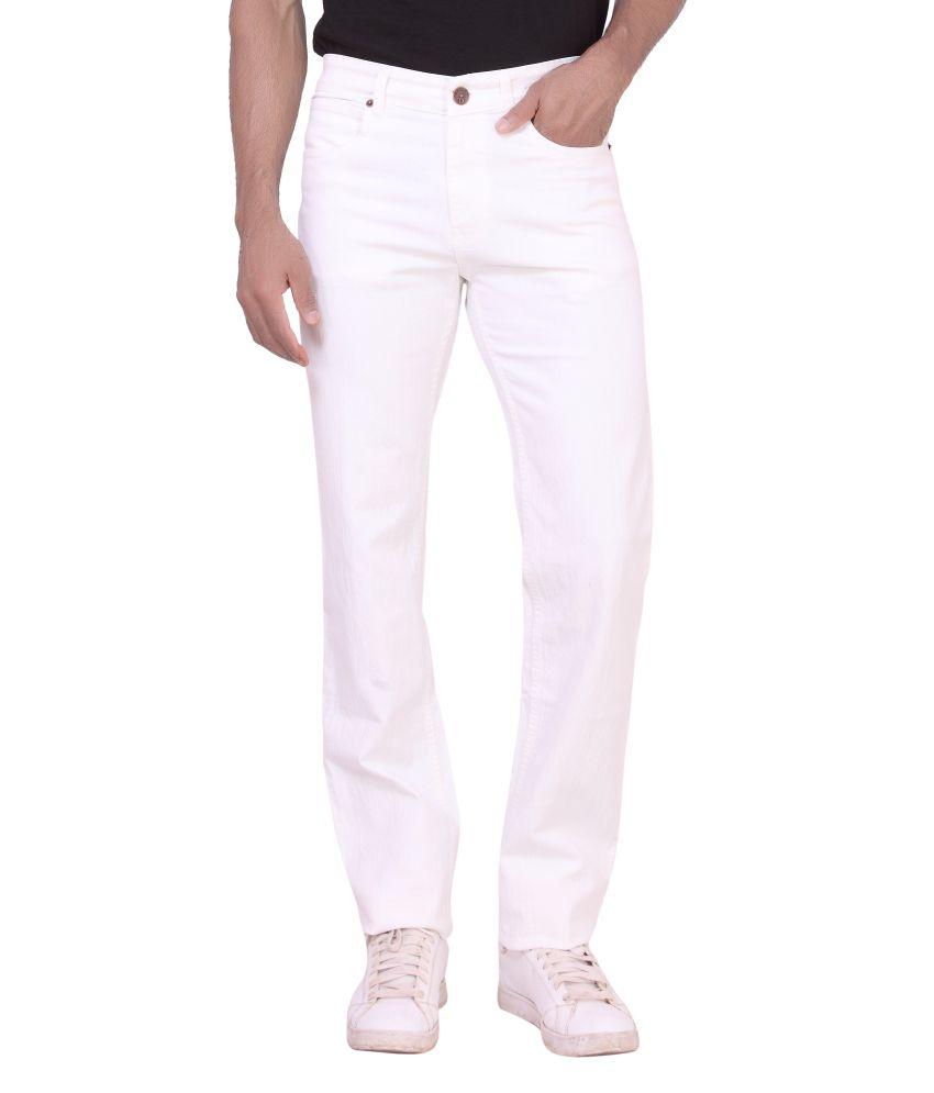 Dad White Cotton Blend Jeans For Men
