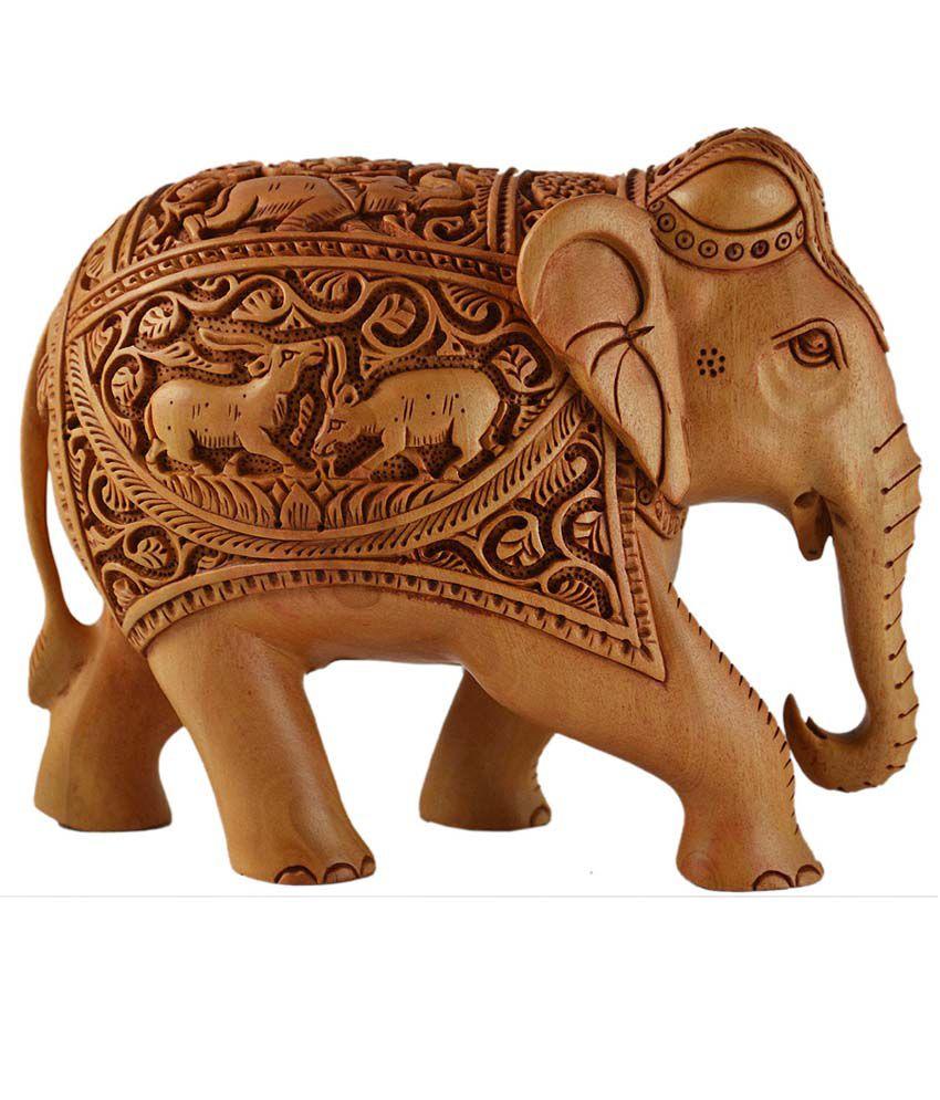 Kraft Mart Brown Wood Carving Elephant Showpieces Buy