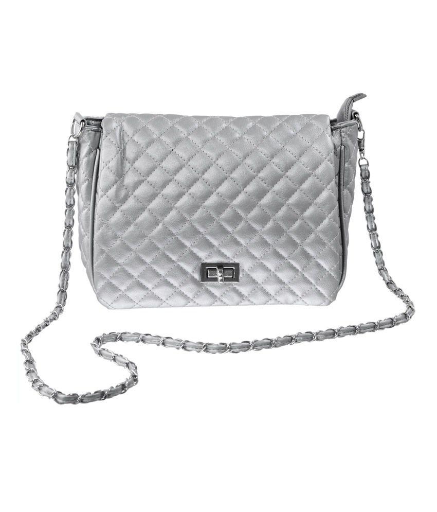 Lee Italian Silver P.U. Sling Bag - Buy Lee Italian Silver P.U. ...