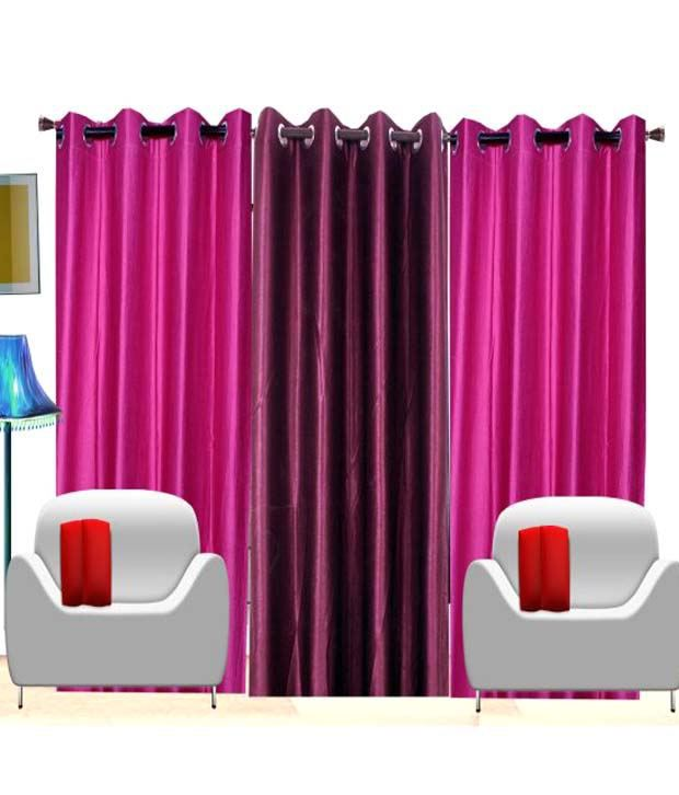 Shop24 decor set of 3 door eyelet curtains solid multi for Snapdeal products home kitchen decorations
