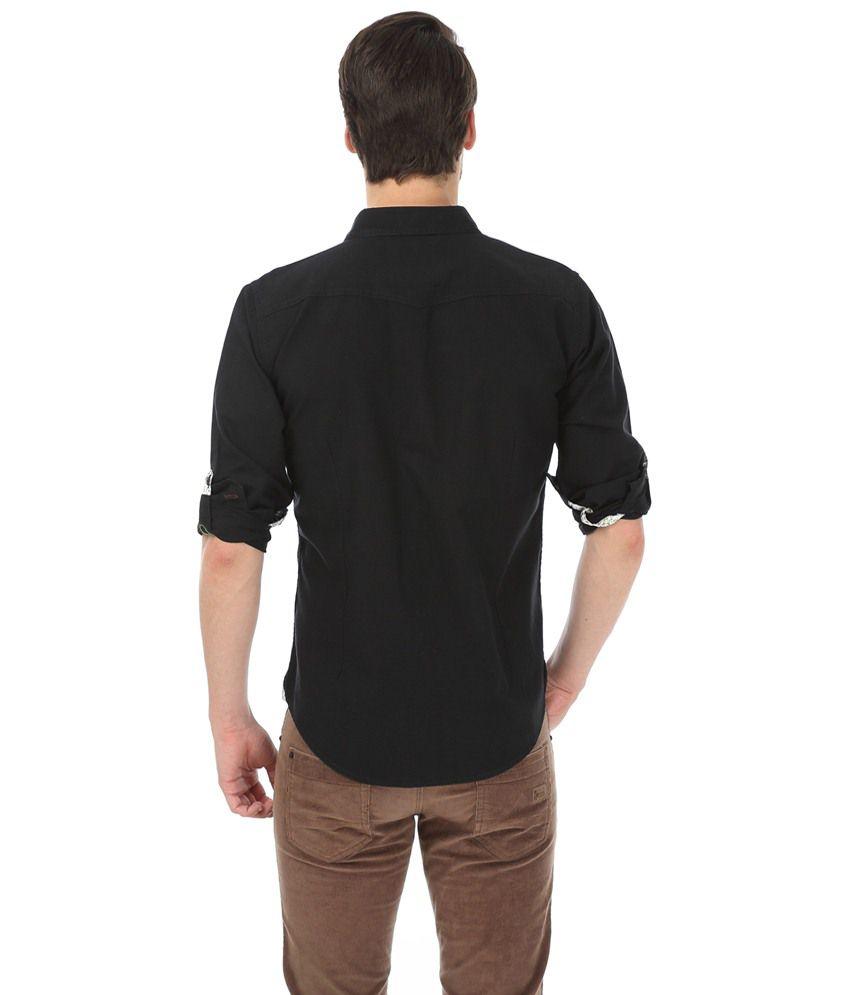 96ed0f85b6 Basics Black Solid Slim Fit Casual Shirt for Men - Buy Basics Black ...