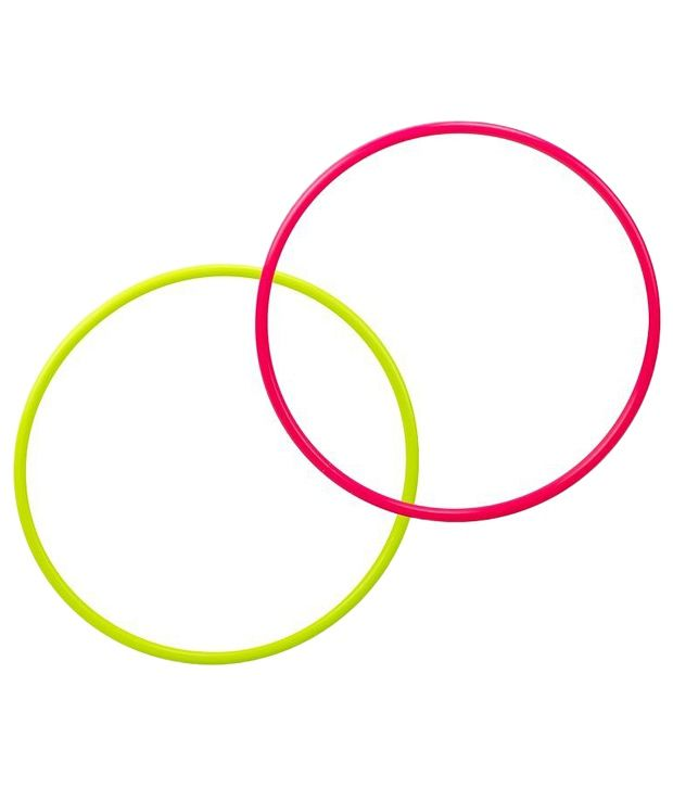 Domyos Combo of 2 Green & Pink Fitness Hoops 50cm