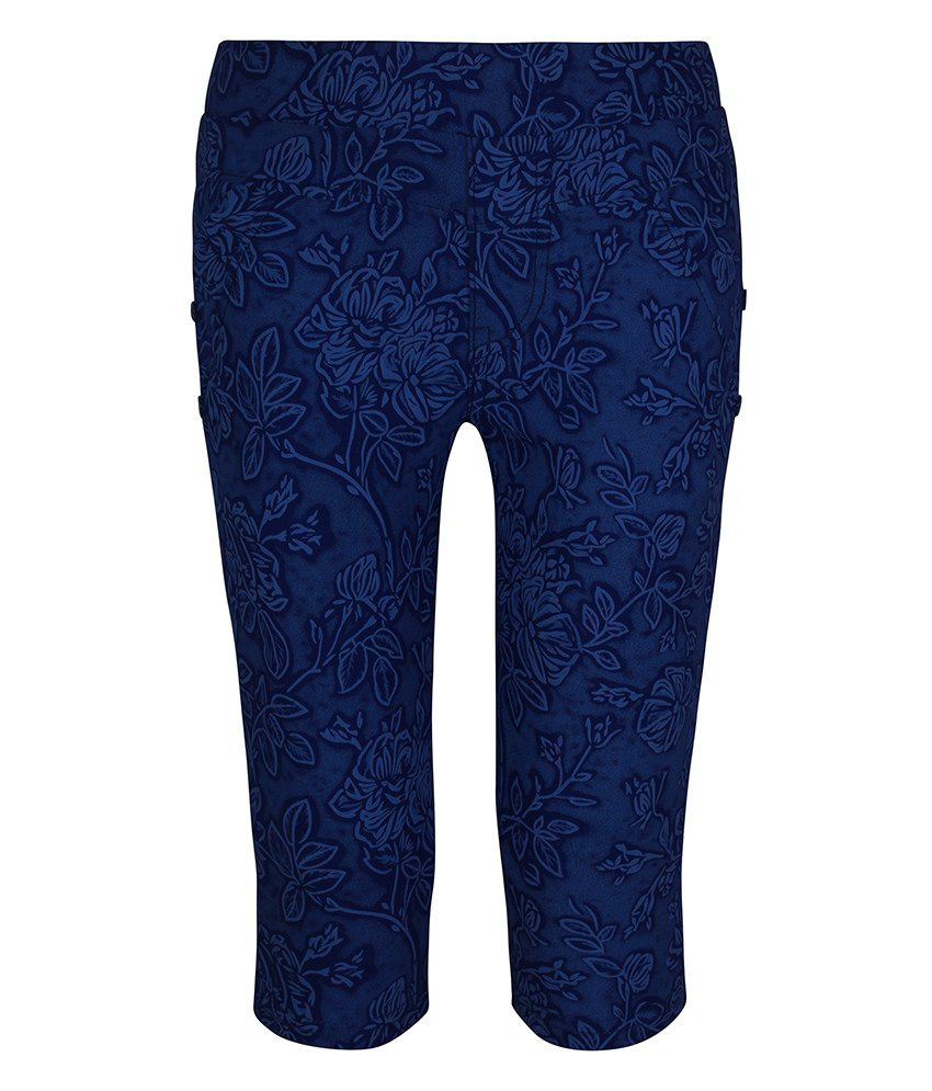 Jazzup Blue Cotton Printed Capris