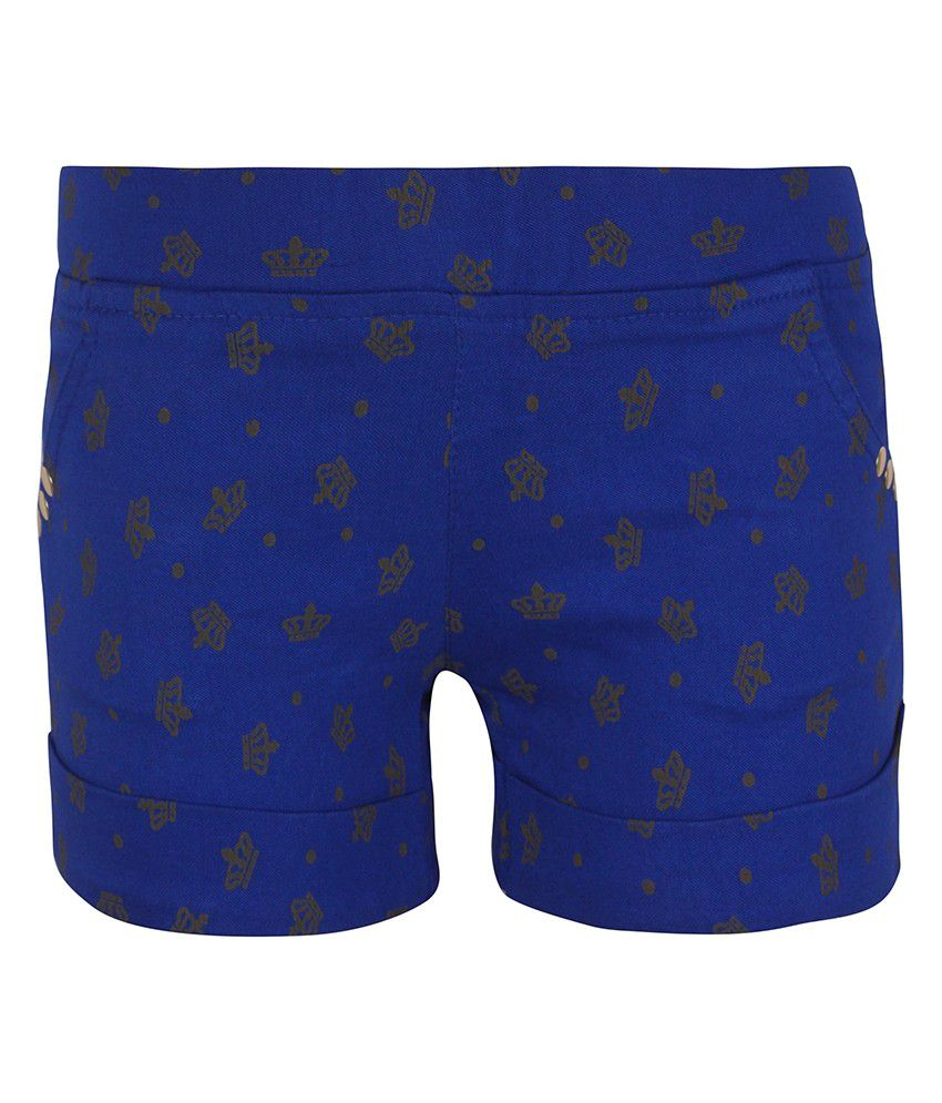 Jazzup Blue Cotton Printed Shorts