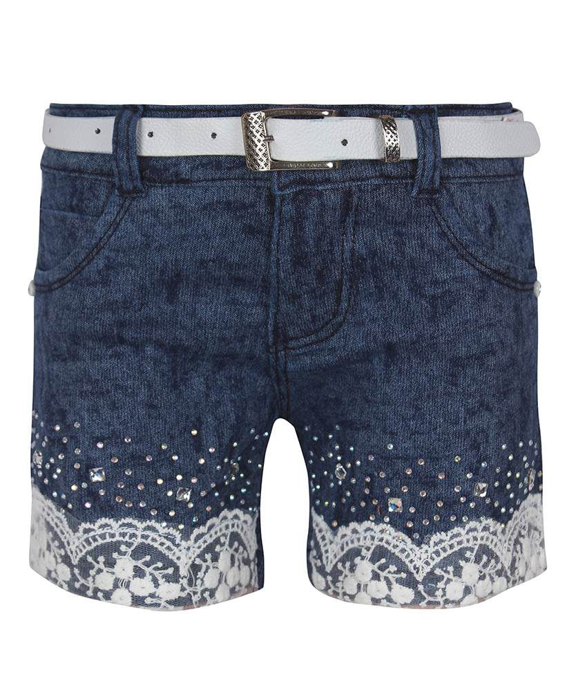Jazzup Blue Denim Patch Work Shorts