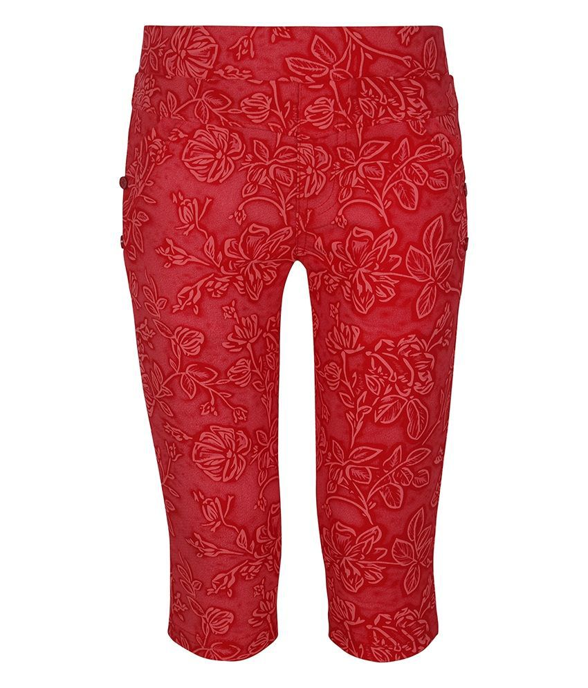 Jazzup Red Cotton Printed Capris