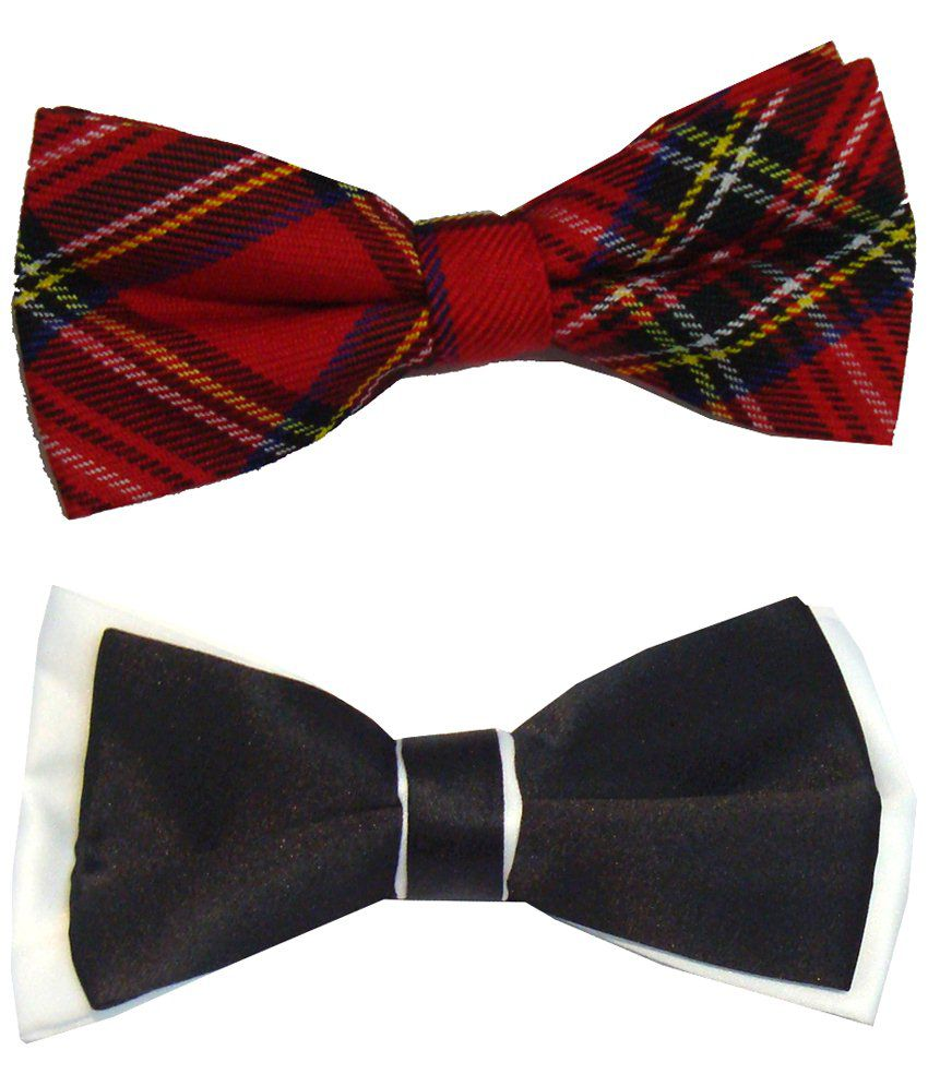 Leonardi Amazing Pack of 2 Red & Black Casual Bow Ties for Men