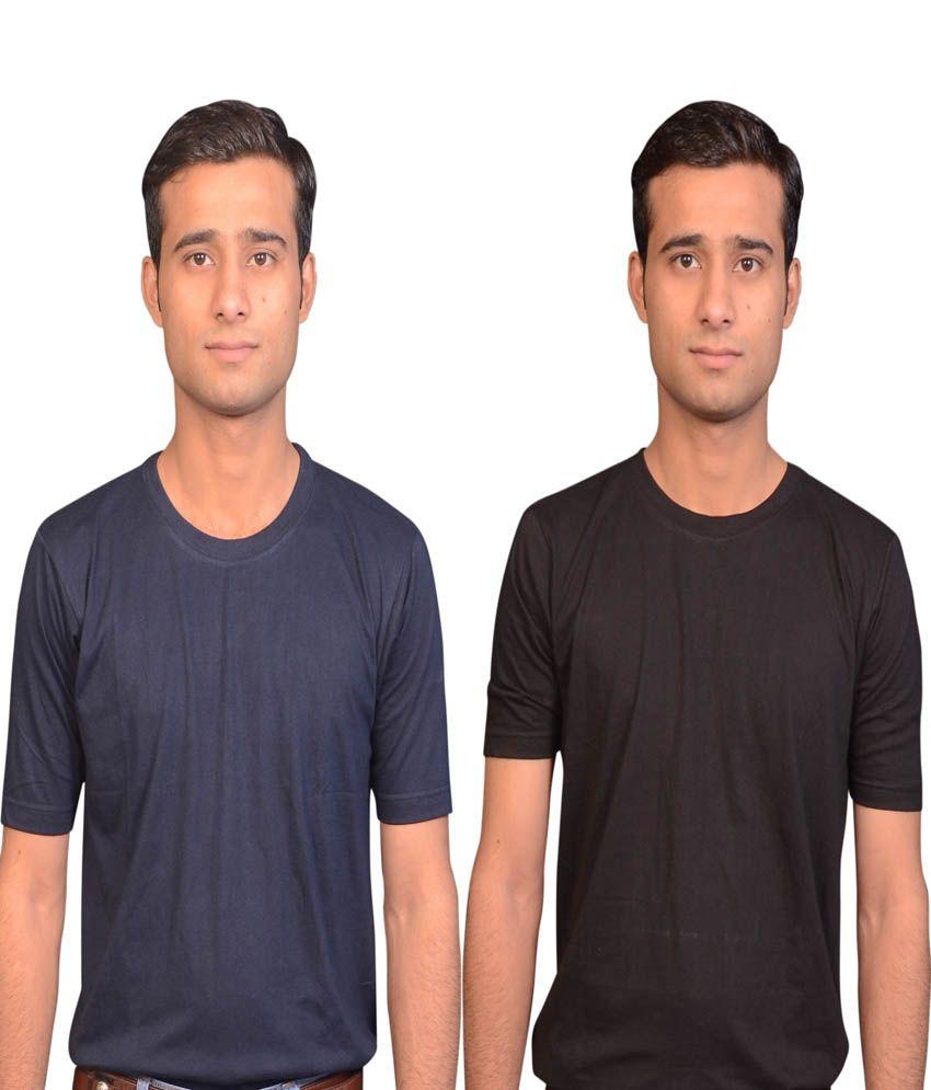 Haltung Navy Cotton Blend Round Neck T - Shirt