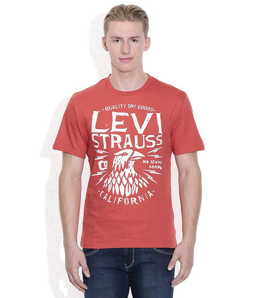 Levis Red Printed Round Neck T-Shirt