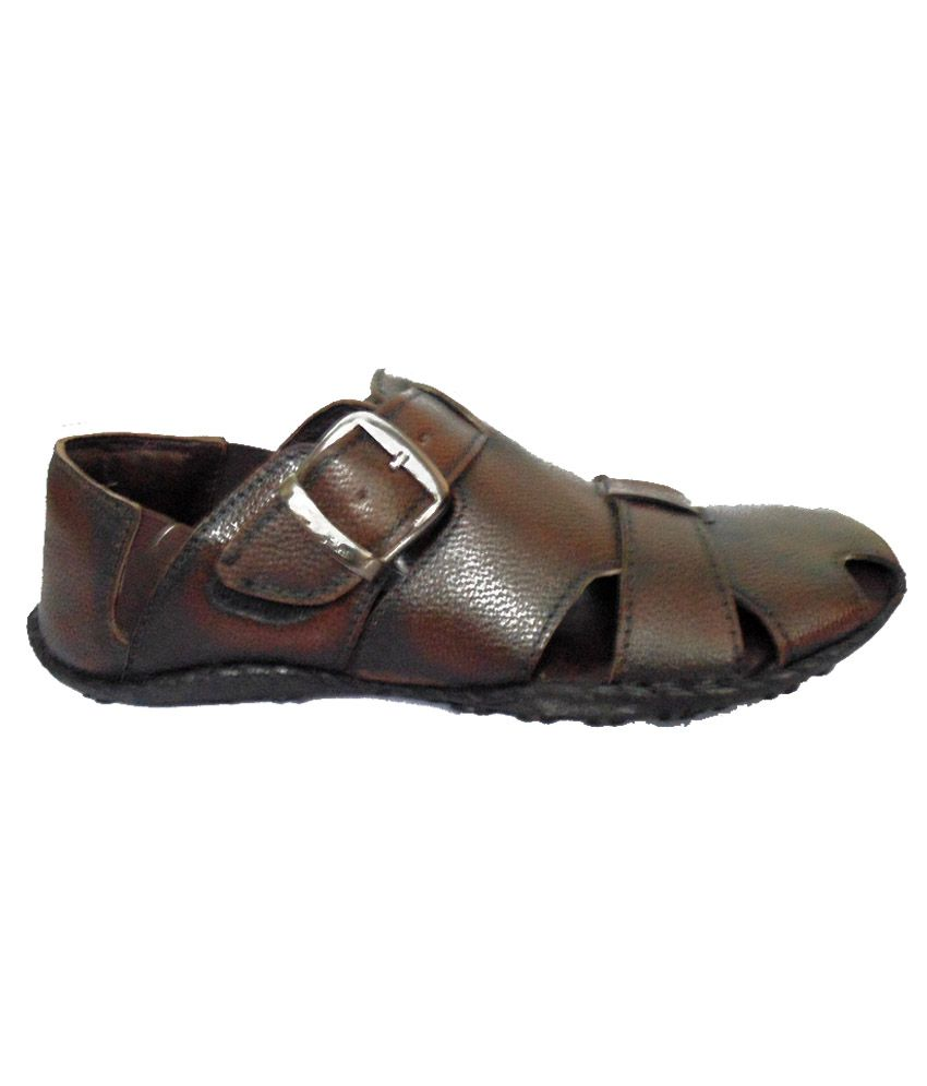 28aea9e2e4965 Merry Care Brown Leather Slip-on Sandals Price in India- Buy Merry ...