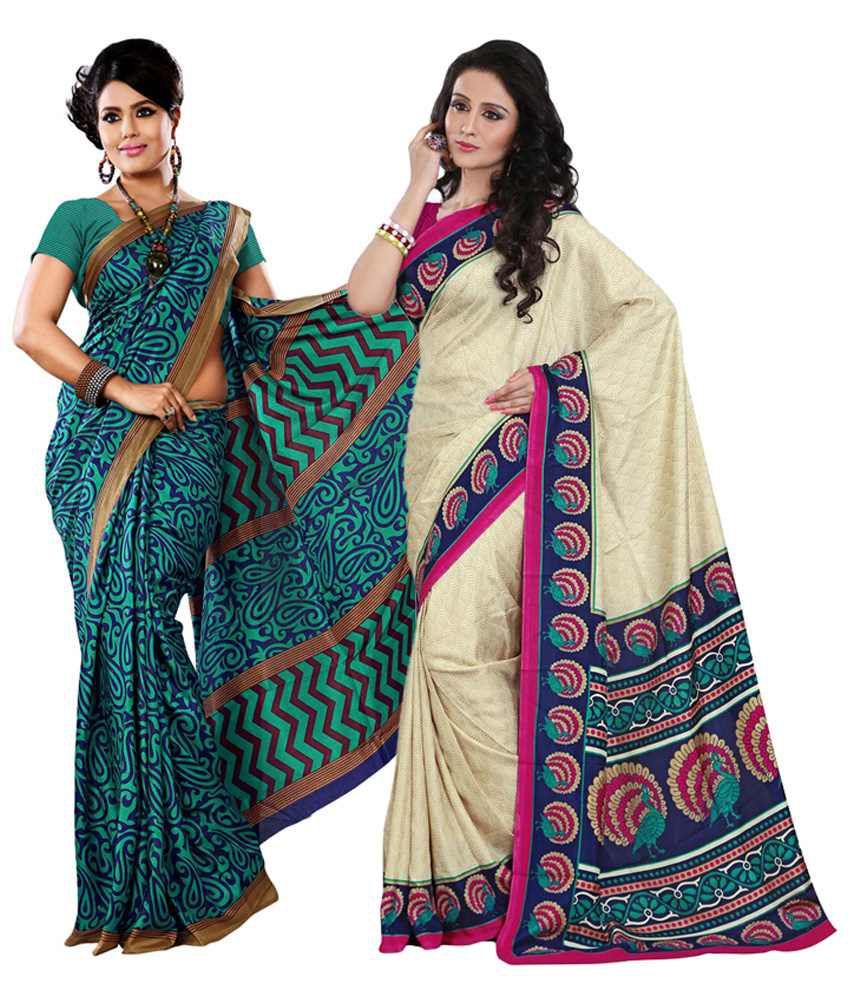 Yuvanika Beige & Green Cotton Pack of 2