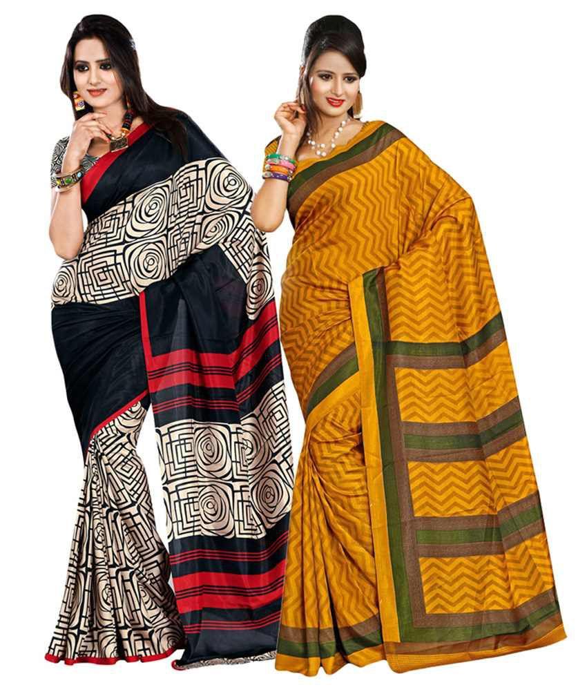Yuvanika Black & Yellow Cotton Pack of 2