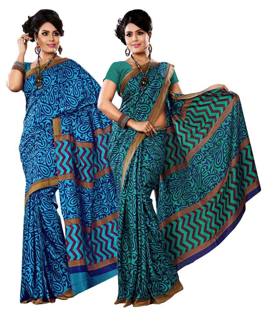 Yuvanika Green & Blue Cotton Pack of 2