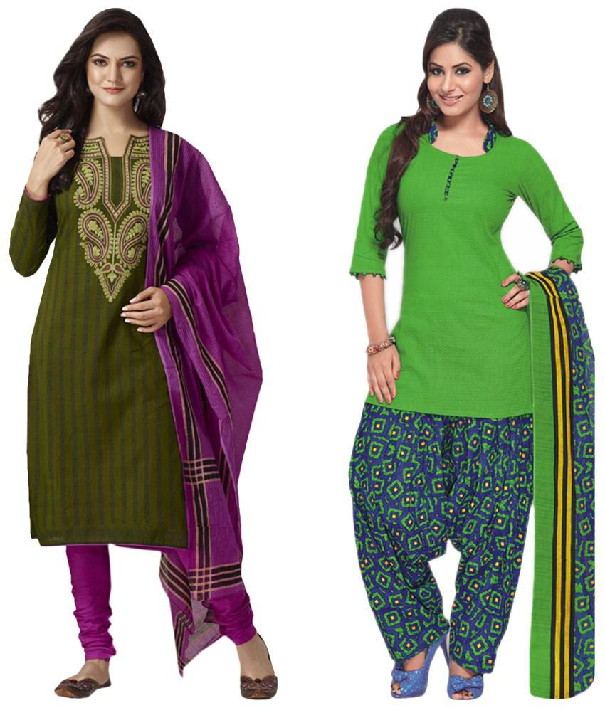 Baalar Green Cotton Unstitched Dress Material