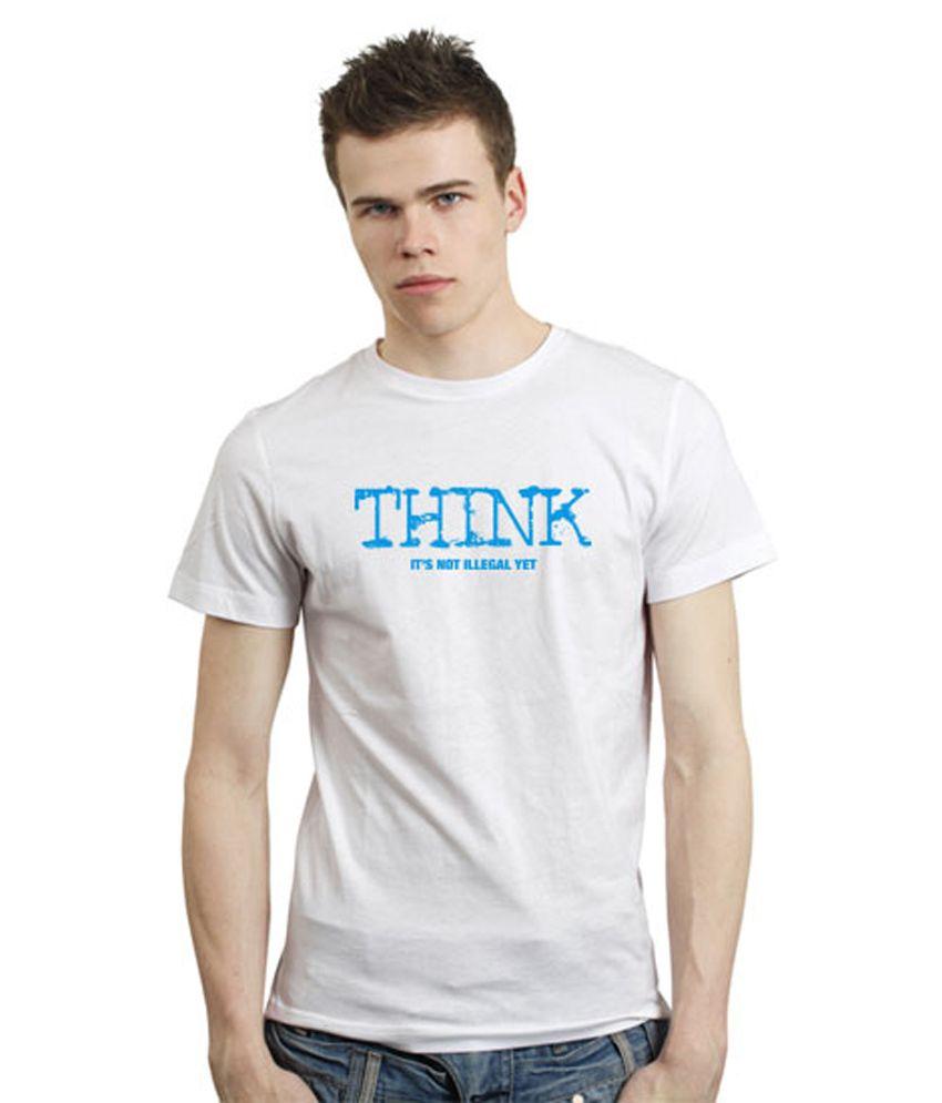 Impress Me White Cotton Printed Round Neck T-Shirt
