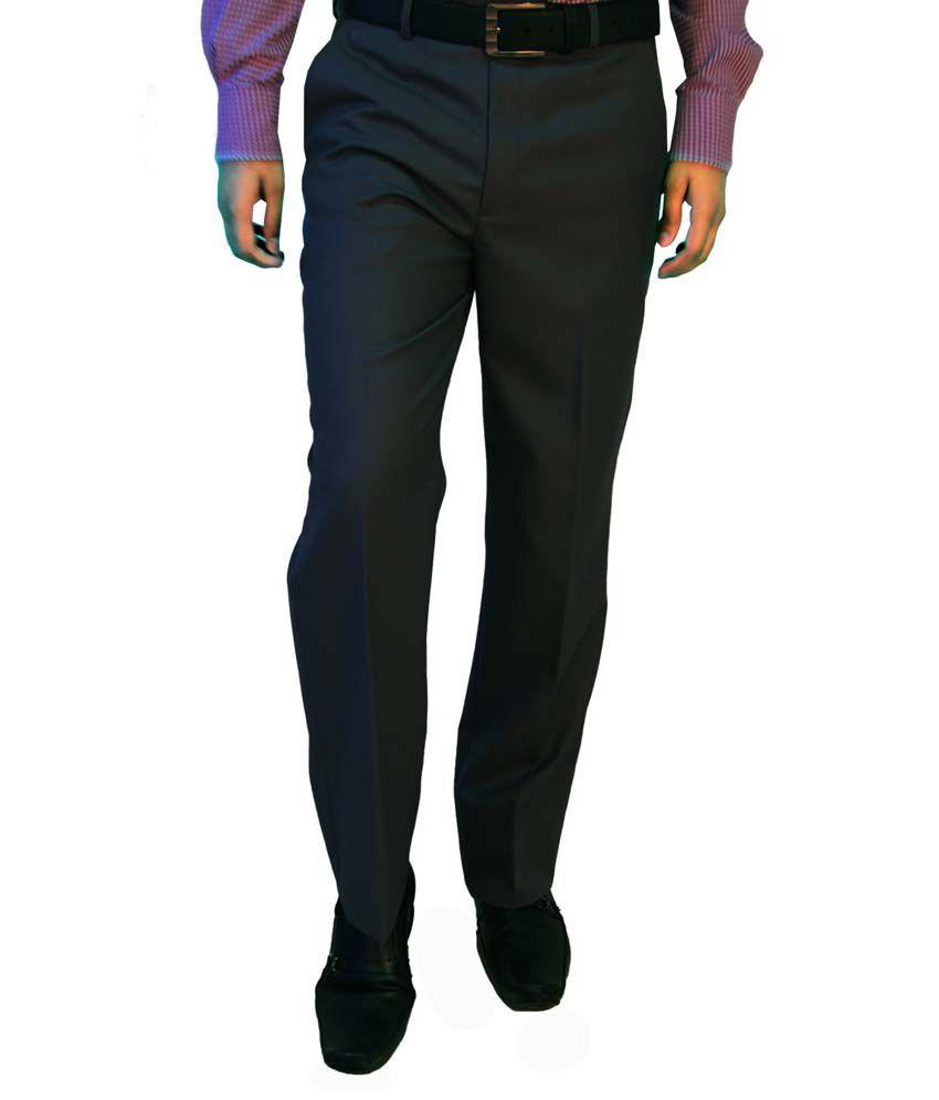 Integration Gray Woollen Regular Flat Formals Trouser