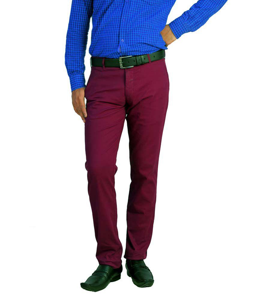 Integration Maroon Cotton Slim Flat Casuals Trouser