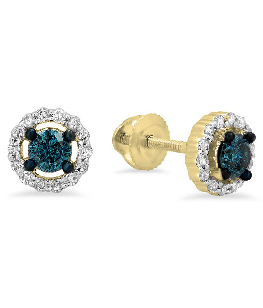 Kavya Jewels Yellow Gold Real Round Cut Blue & White Diamond Ladies Cluster Halo Style Stud Earrings