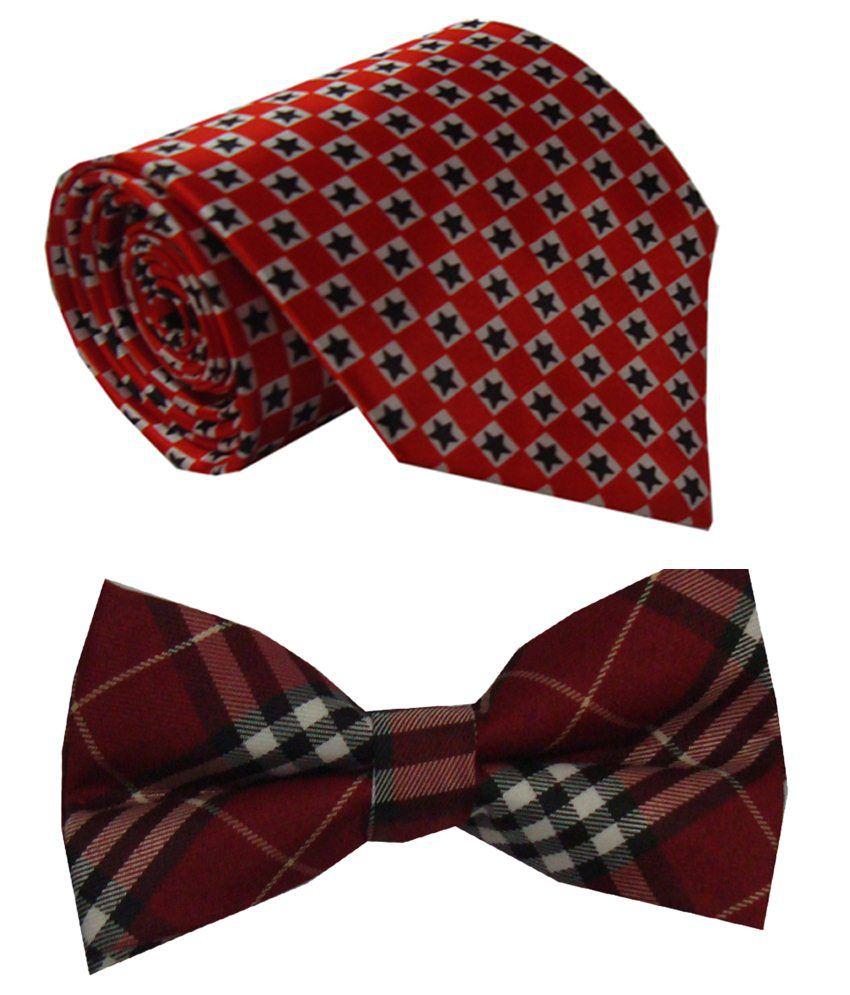 Leonardi Extraordinary Set of Maroon Broad Necktie & Red Bow Tie for Men
