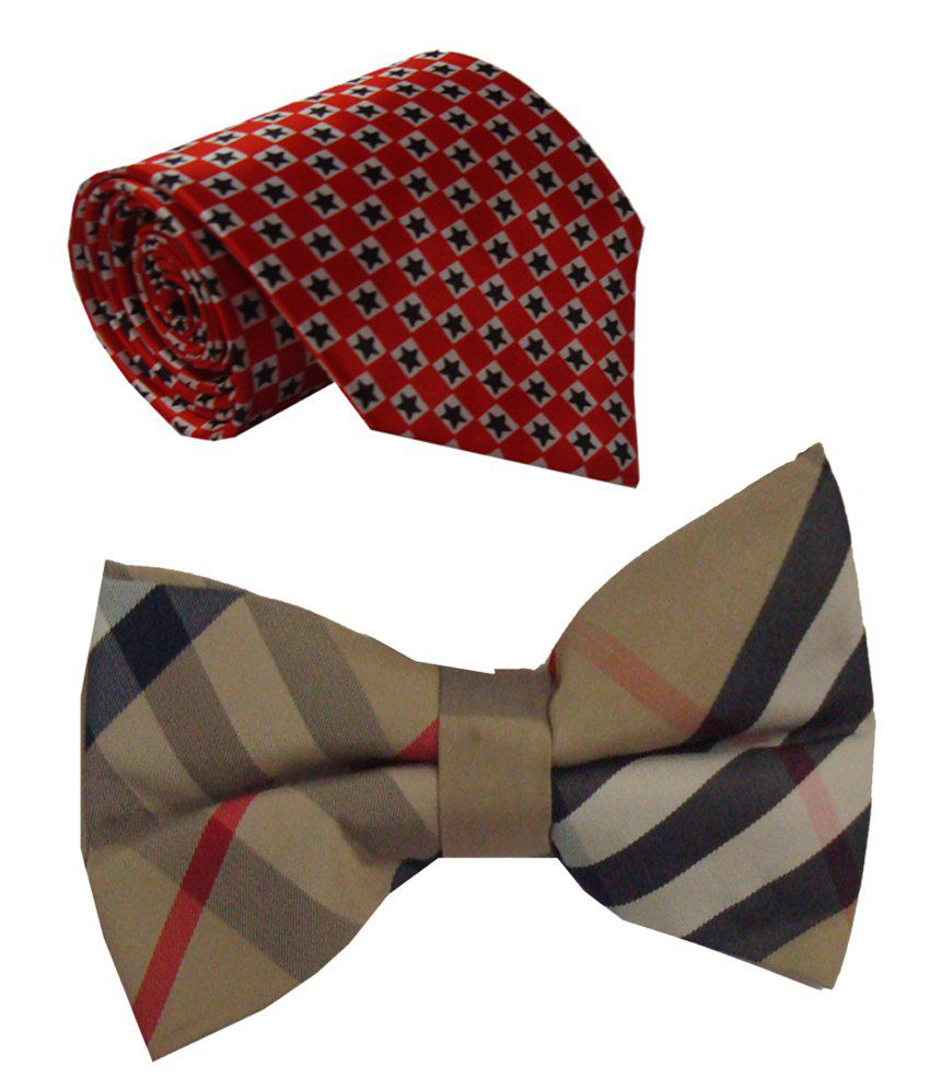 Leonardi Magical Set of Red Broad Necktie & Beige Bow Tie for Men