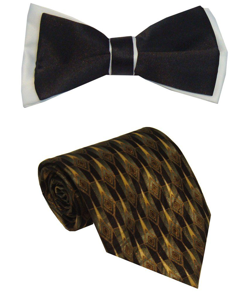 Leonardi Royal Set of Yellow Broad Necktie & Black Bow Tie for Men