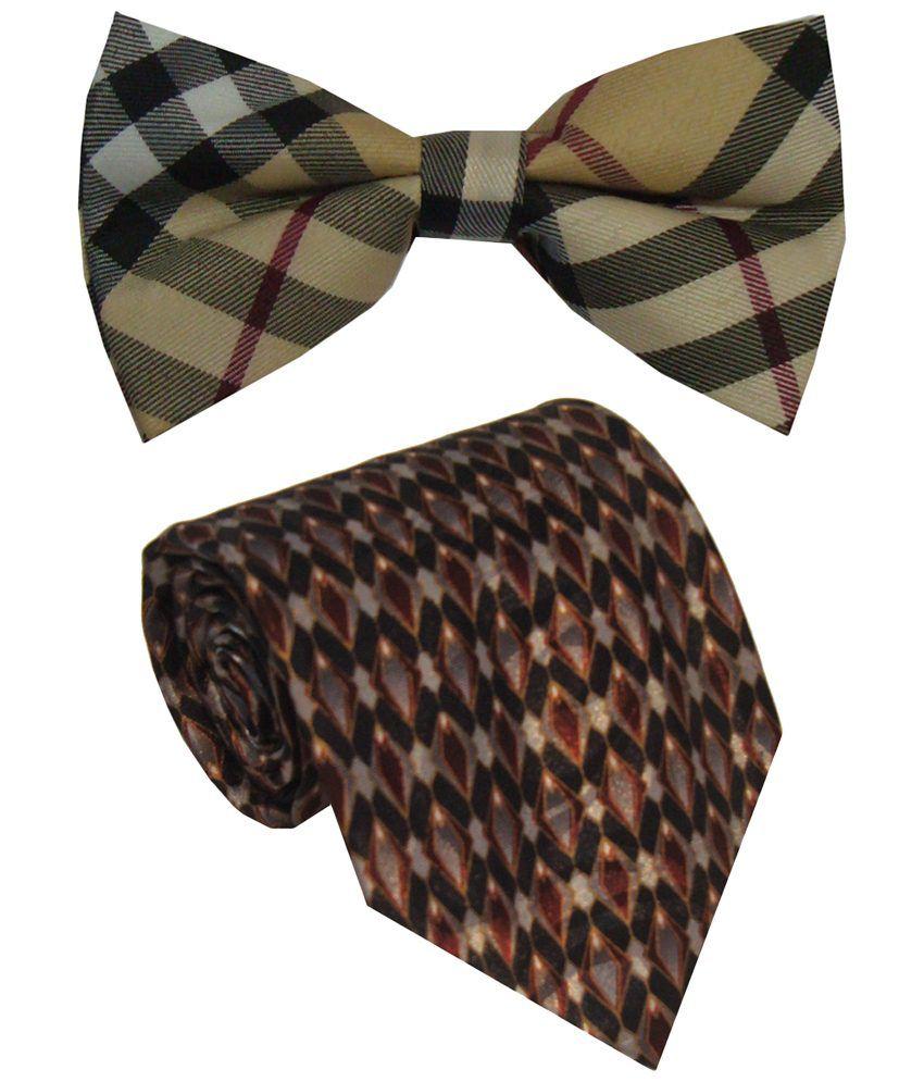 Leonardi Trendy Set of Maroon Broad Necktie & Beige Bow Tie for Men
